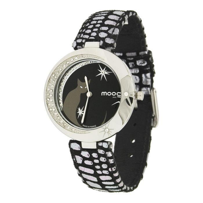 Montre Femme Moog Paris Lucille avec Cadran Noir, Eléments Swarovski, Bracelet Noir en Cuir Véritable - M44912-001