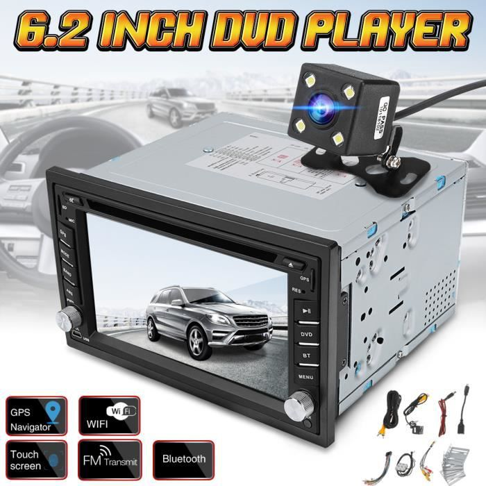 Autoradio 2-Din In Dash Car CD DVD Lecteur Radio Stéréo GPS SAT NAV + Caméra Arrière Radar de Recul