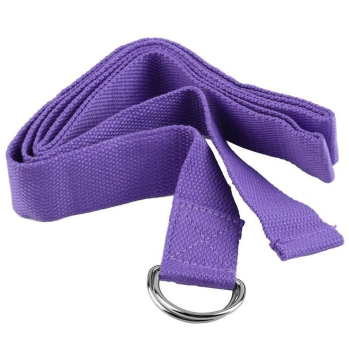 Sangle de Yoga Sangle Yoga 1.8M Classique Ceinture d'Exercice en Coton Durable pour Étirements- violet