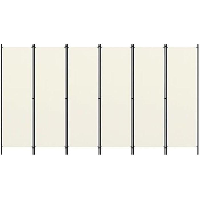 3897MEUBLE FR® Cloison de séparation Retro Design-Paravent Séparation de pièces Cloison amovible 6 panneaux Blanc crème 300x180 cm S
