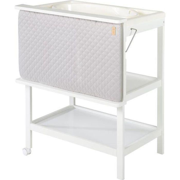 ROBA Table à langer et baignoire 2 en 1 en bois blanc 2 roues -Baby Pool- avec matelas à langer pivotant sur le côté -roba Style-