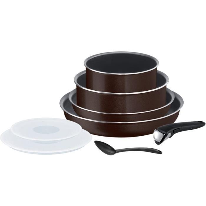 Tefal Batterie de cuisine 8 pièces INGENIO ESSENTIAL Black Coffee pailleté