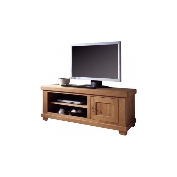 Banc tv hifi lcd plasma ch ne 1 porte 2 niches achat for Banc tv chene