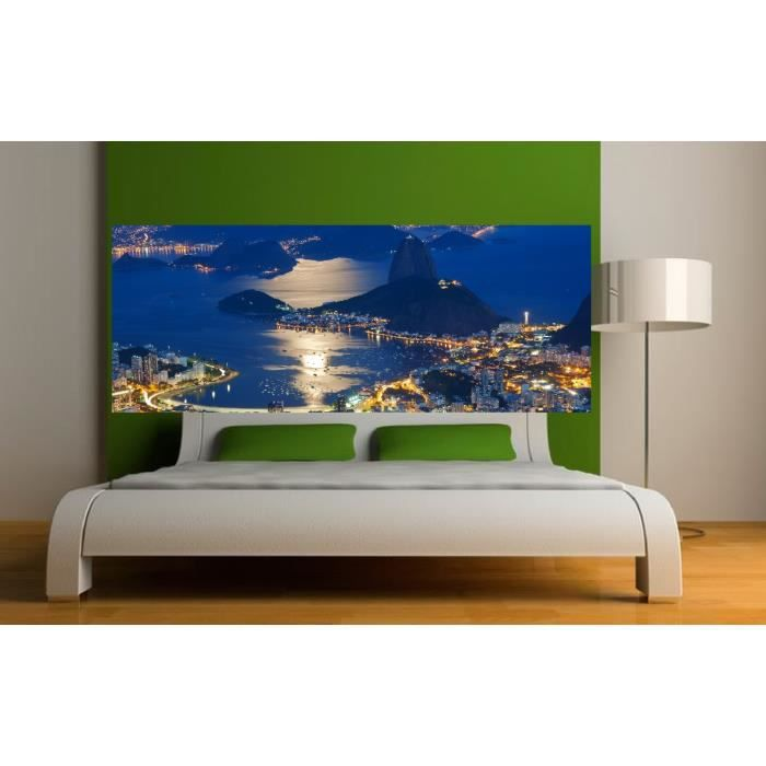 stickers t te de lit d co baie de rio dimensions 160x62cm achat vente stickers cdiscount. Black Bedroom Furniture Sets. Home Design Ideas