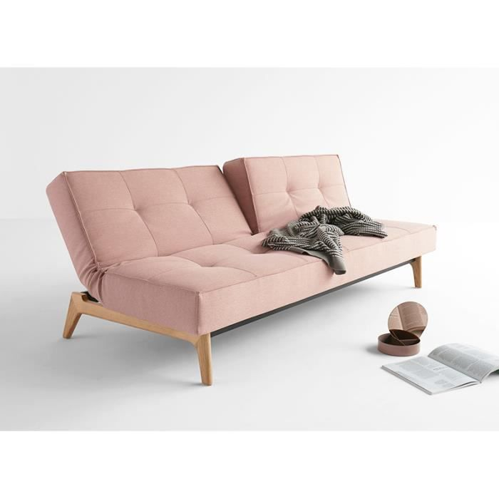 canap convertible pied bois splitback eik corail 3 places achat vente canap sofa divan. Black Bedroom Furniture Sets. Home Design Ideas