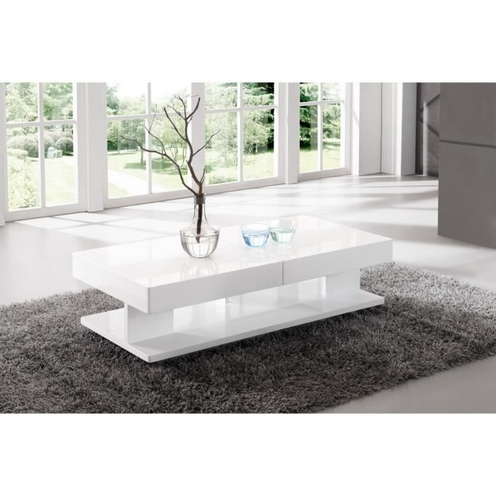 table de salon rectangulaire avec rangement blanc laqu achat vente table basse table de. Black Bedroom Furniture Sets. Home Design Ideas