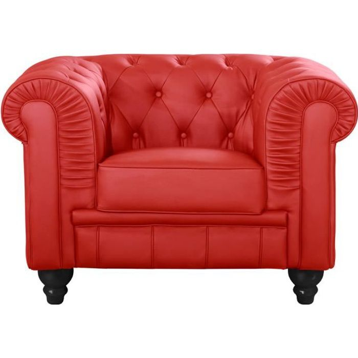 fauteuil chesterfield rouge achat vente fauteuil cuir. Black Bedroom Furniture Sets. Home Design Ideas