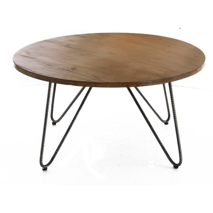 Table basse ronde en acier et pin collection arco achat for Table basse scandinave ronde copenhague 80
