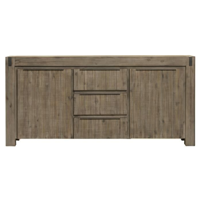 Buffet bahut contemporain 2 portes 3 tiroirs en bois massif coloris gris brum - Buffet massif contemporain ...