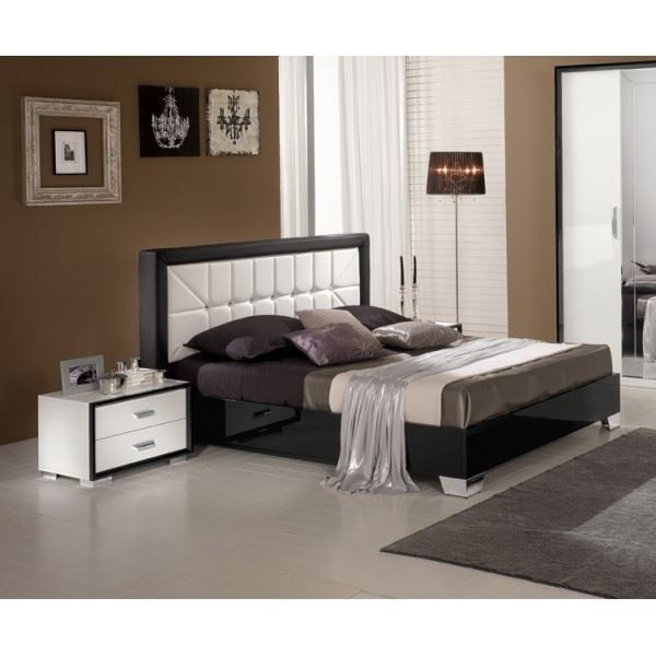 lit adulte design eva coloris noir et blanc la achat. Black Bedroom Furniture Sets. Home Design Ideas