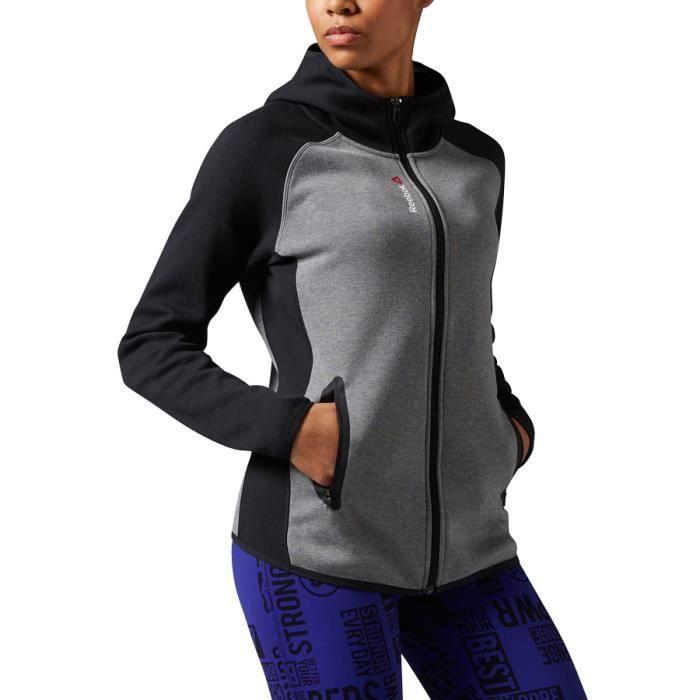 Sweat shirt Reebok Quik Cotton Full Zip gris femme Gris Gris