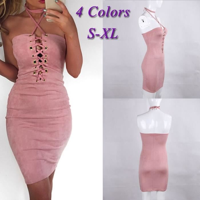 Robe dété Femmes Encolure Sexy Backless Lace Up Party Dress Bandage Robes Solid Color Casual