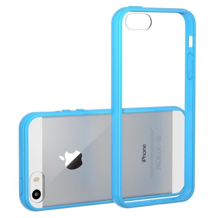 coque transparente iphone 5 5s contour bleu achat coque bumper pas cher avis et meilleur. Black Bedroom Furniture Sets. Home Design Ideas