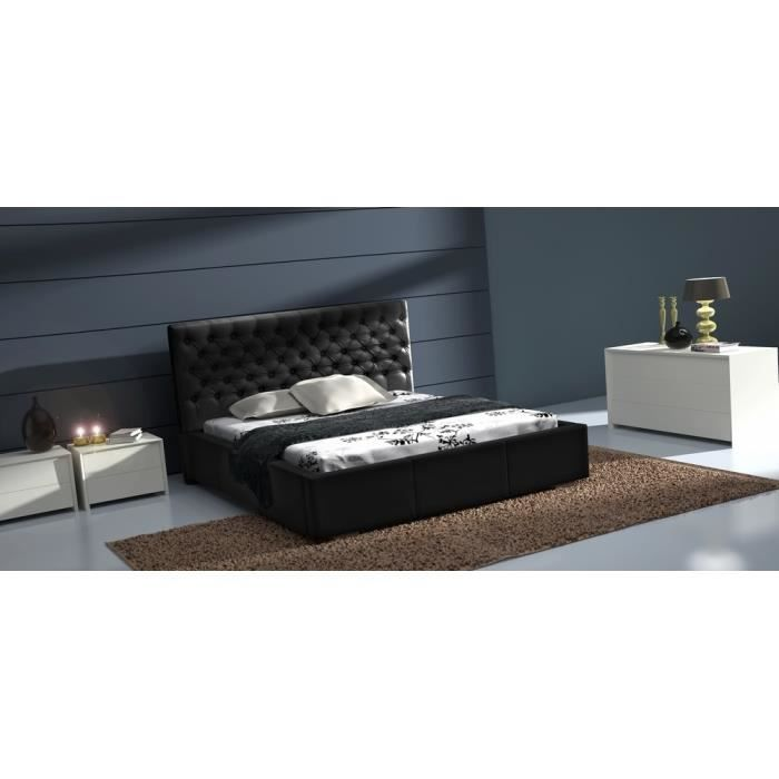 lit capitonn cuir pu astor 180x200 cm achat vente structure de lit cdiscount. Black Bedroom Furniture Sets. Home Design Ideas