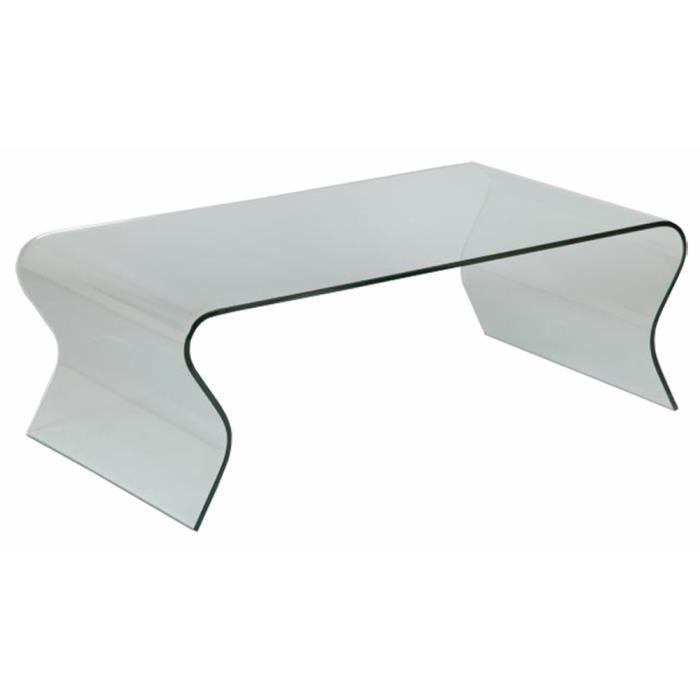 TABLE BASSE Table basse en verre (vague), L.120 X P.65 X Ht...