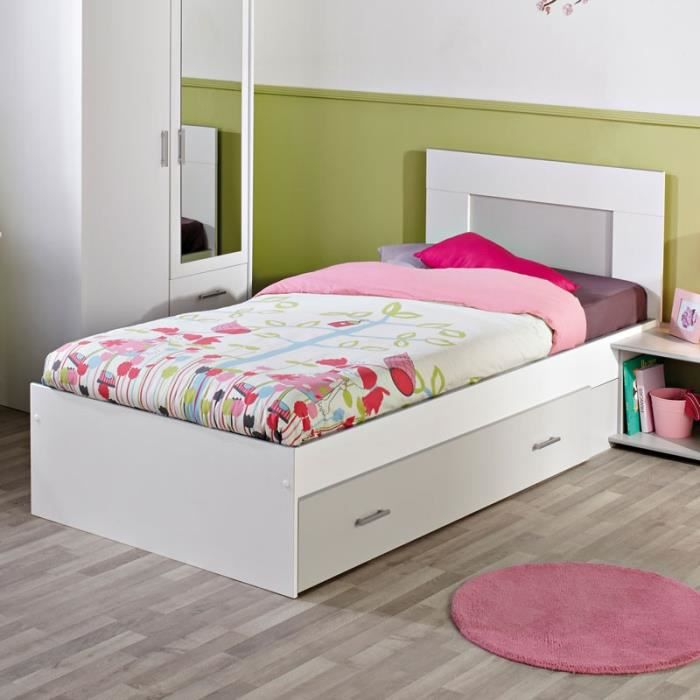 cadre de lit tiroir t te de lit 90 200 blanc seal l 205 x l 101 x h 91 cm achat. Black Bedroom Furniture Sets. Home Design Ideas
