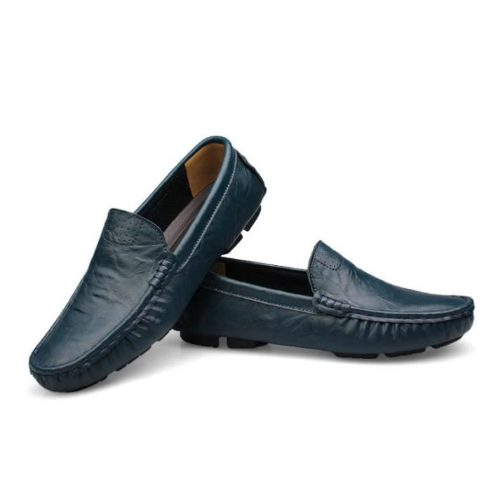 Mocassin Hommes Mode Chaussures Grande Taille Chaussures LKG-XZ73Bleu37