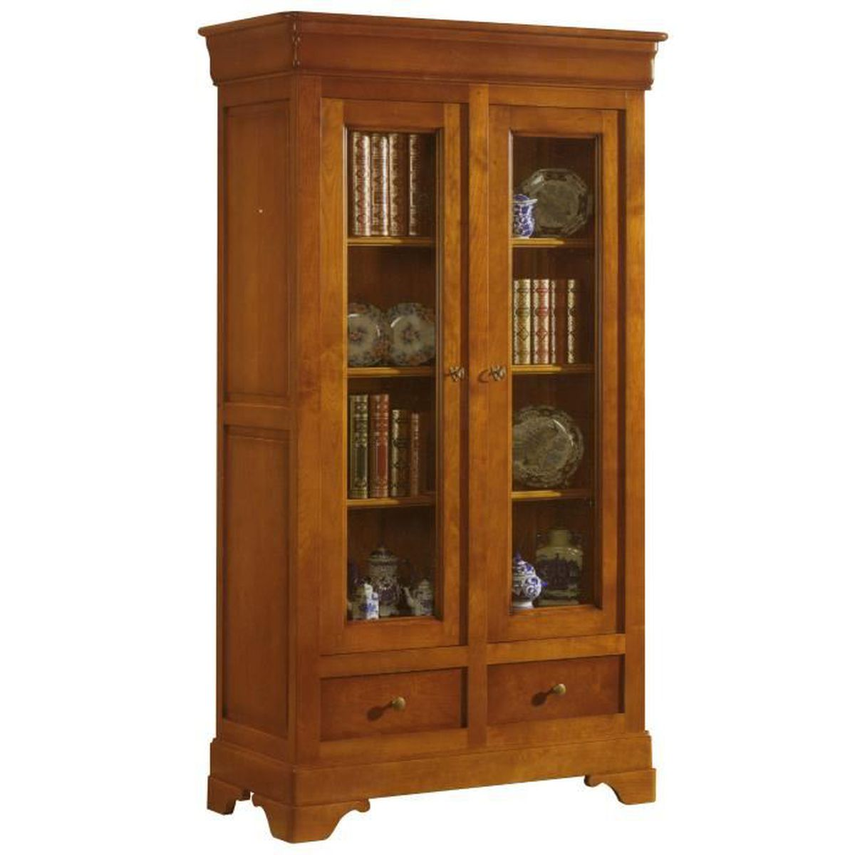 biblioth que 2 portes vitr es 2 tiroirs en ch ne massif achat vente biblioth que. Black Bedroom Furniture Sets. Home Design Ideas