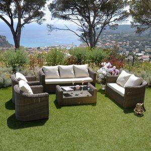 Salon de jardin Capri Taupe - 7 places - Achat / Vente salon ...