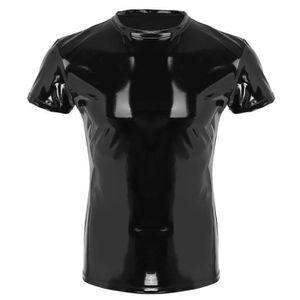 T-SHIRT T-shirt Sexy Homme Faux Cuir Top Manches Courtes T