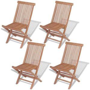 FAUTEUIL JARDIN  Chaise pliante d'extérieur 4 pièces Teck massif