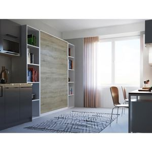 STRUCTURE DE LIT SMARTBett Basic 140x200 verticale blanc/chêne sono