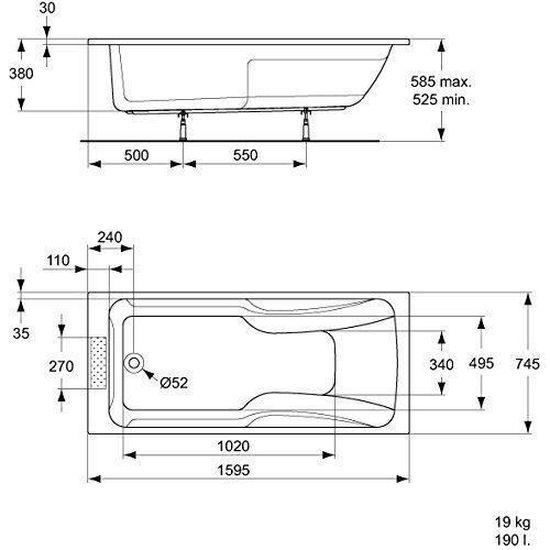 Ideal Standard Baignoire A Encastrer Kheops 3 180x80cm En