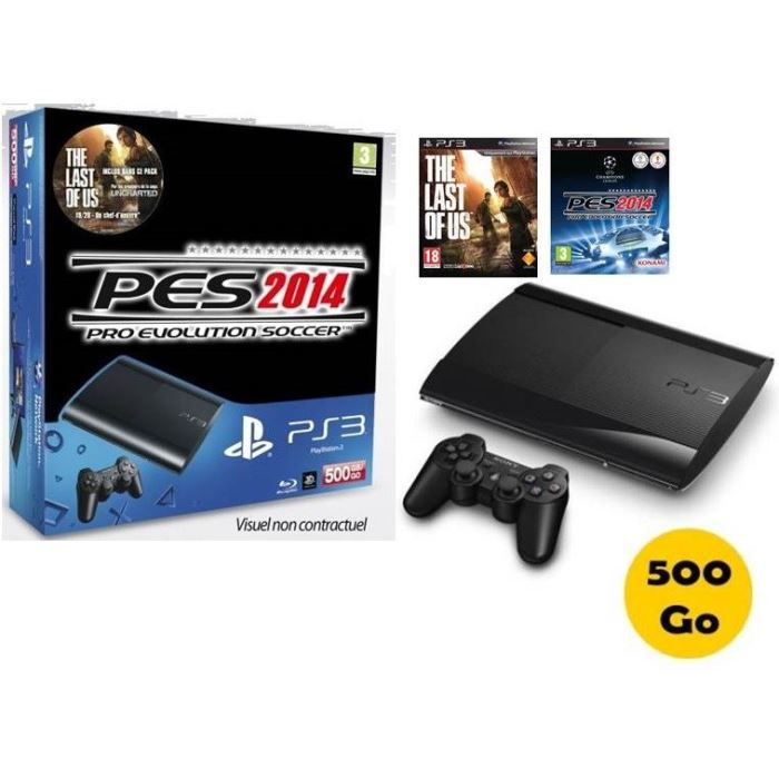 ps3 500 go noire pes 14 the last of us achat vente console ps3 pack ps3 500 go noire. Black Bedroom Furniture Sets. Home Design Ideas