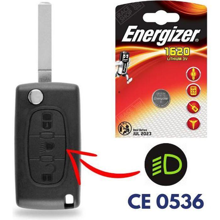 Boitier de Télécommande Plip Clef pour CITROEN C4 Picasso C2 C3 C5 C6 avec Pile CR1620 ENERGIZER