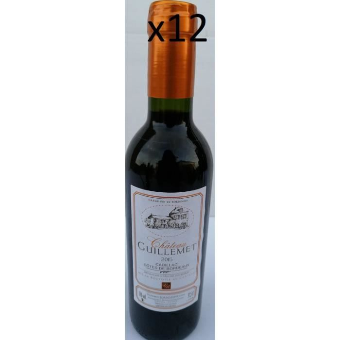 LOT DE 12 - Cadillac côtes de Bordeaux 2015 37.5CL Château Guillemet direct producteur