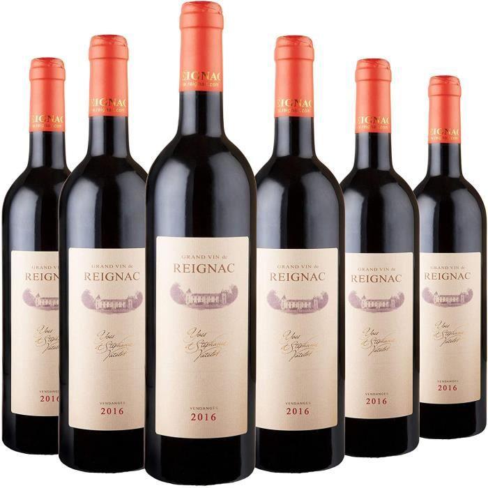 GRAND VIN DE REIGNAC - CHATEAU DE REIGNAC - Millésime 2016 - Lot de 6 bouteilles de 75cl - Vin Rouge - Note 94/100 - AOC Bordeaux Su