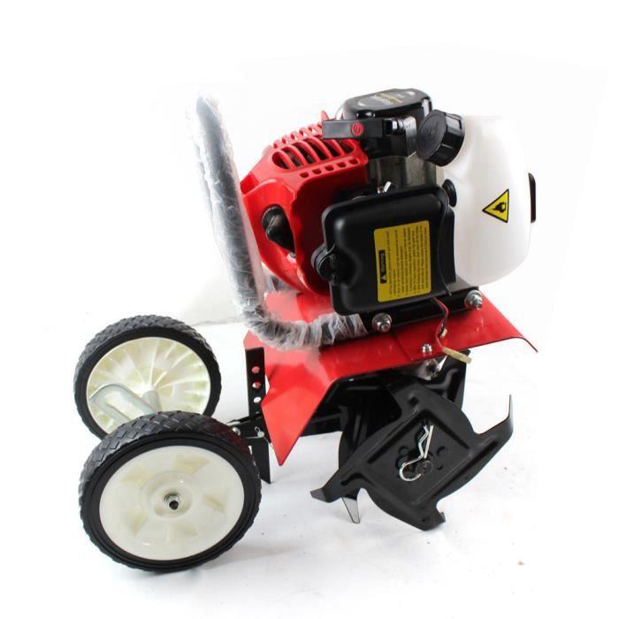 2 Temps 52cc Mini Motoculteur à Essence 1.45KW Cultivateur