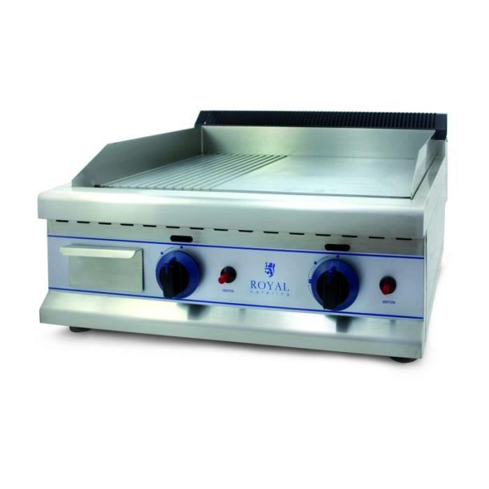 Plancha à gaz - 65cm - gaz naturel – 20mbar acier inox professionnel 3614045