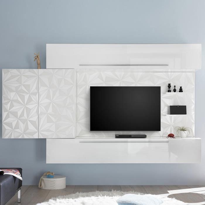 Ensemble TV mural blanc laqué design PAOLO Blanc L 265 x P 35 x H 200 cm