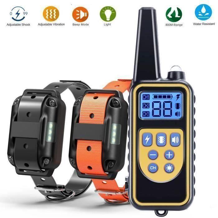 Collier dressage chien-800m collier d'entraînement à distance rechargeables et 100% imperméables, pour deux chiens