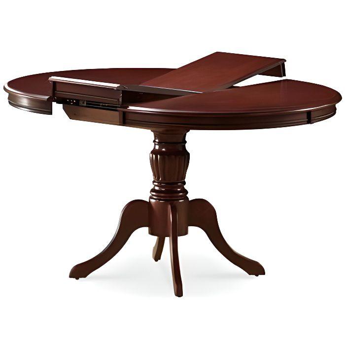 OLIMIA - Table élégante pour la salle à manger - 106x106x76 cm - Plateau ovale - Piètement en bois - Extensible - Marron