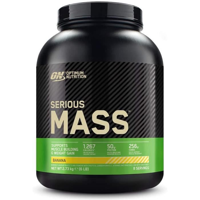 Optimum Nutrition Serious Mass, Mass Gainer avec Whey, Proteines Musculation Prise de Masse avec Vitamines, Creatine et Glutamine, B