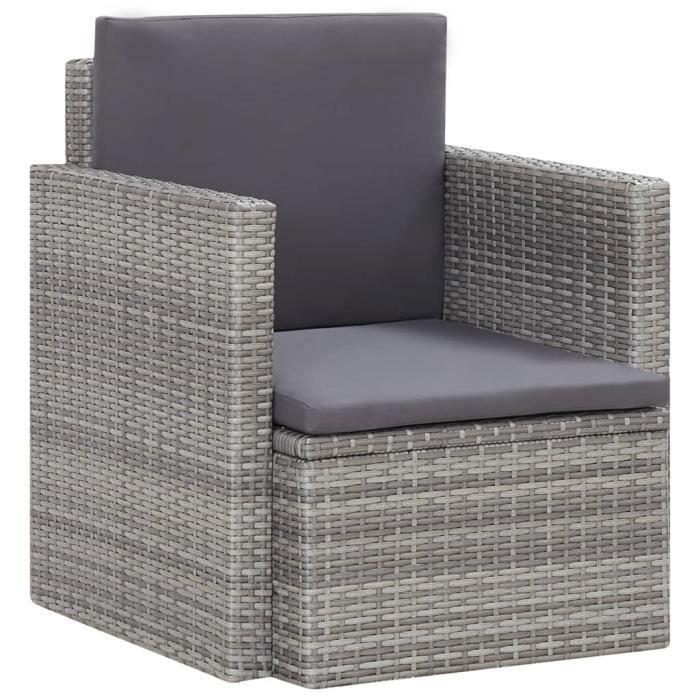 Maison® Chaise de jardin Fauteuil de Jardin avec coussins Résine tressée Gris &109181