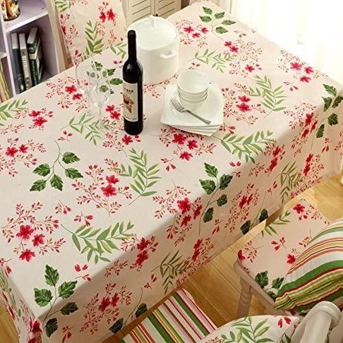 NAPPE Alicemall Nappe Rectangulaire Fleurie de Style Frais Nappe Campagne Chic Lavable en Machine 140x220 cm Couverture pour Tab756