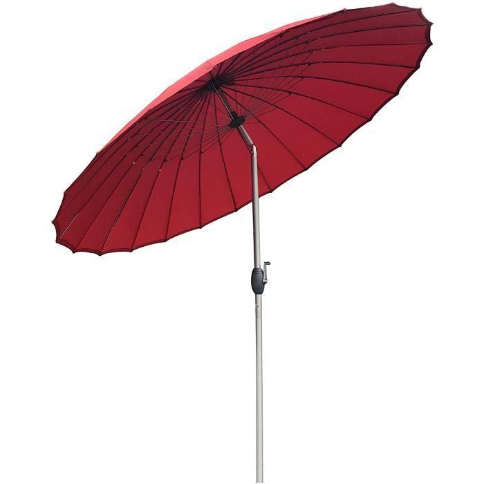PARASOL SORARA Shanghai Parasol de Jardin Exterieur - Rouge - &oslash 260 cm - Rond - M&eacutecanisme &agrave Manivelle, Fonc42