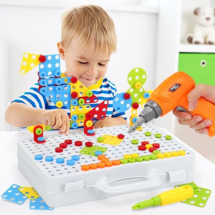 Assemblage Jouets Mosaique Puzzle Bloc de Construction Jouet Jeux Éducatif avec Perceuse Tournevis Outil Enfant Garcon Fille