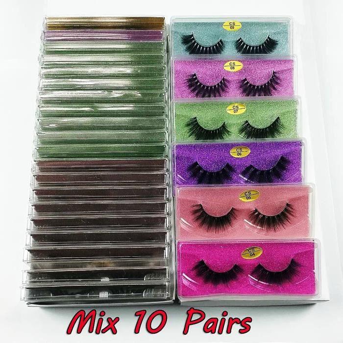 Maquillage,Lot de faux cils en vison naturel 3d,30-50-100 paires,pour maquillage,vente en gros - Type Mix 10 pairs