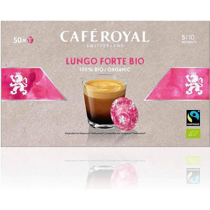 CAFE ROYAL PRO - 150 CAPSULES COMPATIBLES NESPRESSO PRO® - LUNGO FORTE BIO - 3 Boites de 50 Capsules Compatibles Nespresso Pro®