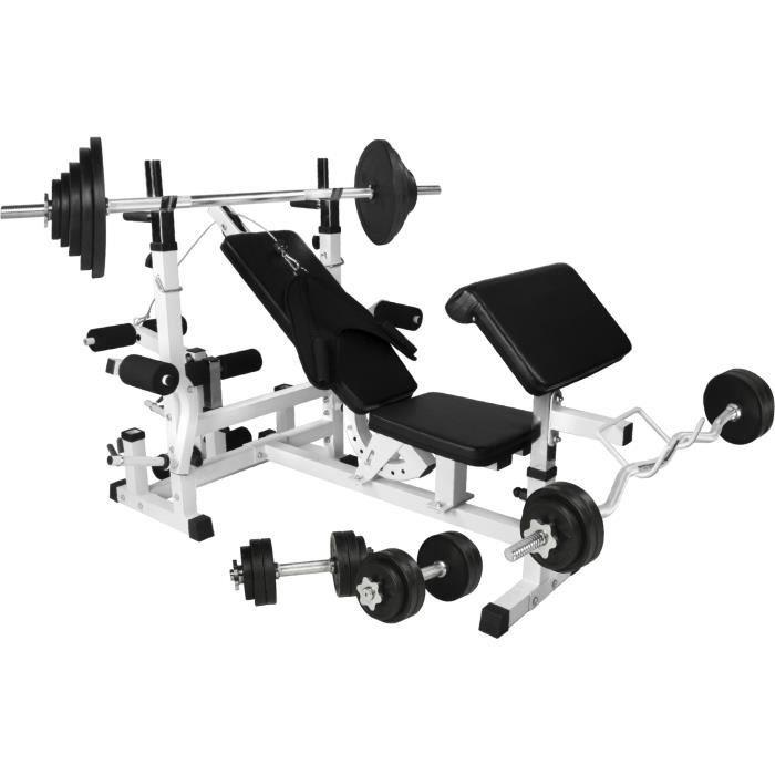 Gorilla Sports - Banc de musculation universel avec support pour haltères et set d´haltéres en caoutchouc de 105,5kg Blanc Et Noir