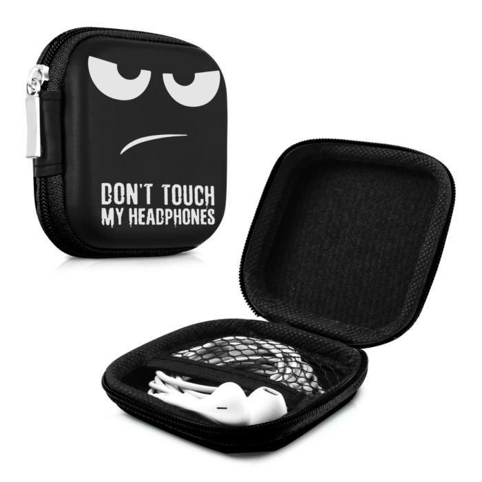 kwmobile Housse rigide pour écouteurs - Sacoche de protection antichoc pour oreillettes avec fermeture éclair et filet intérieur - d