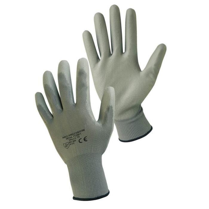 Paire de gants de protection pro précision en polyester enduit de polyuréthane - Taille 7 - S - Gris