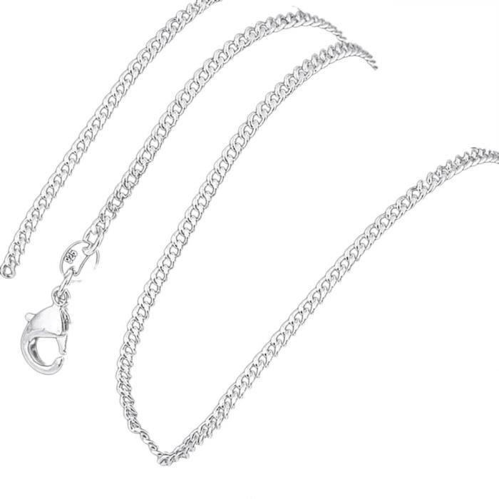 Chaîne pour collier Argenté argent sterling 925/00 Bijou fantaisie haut de gamme Gourmette 2mm 60cm Femme Blanc wz-CH0026