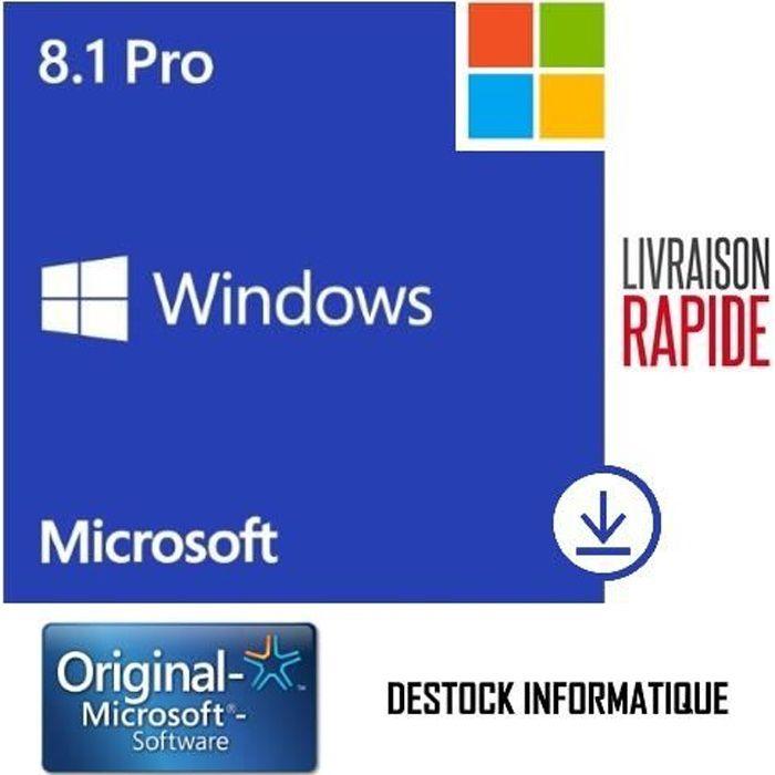 Windows 8.1 Pro / Professionnel 32/64 bits Livraison rapide 7/7j (Destock Informatique) !
