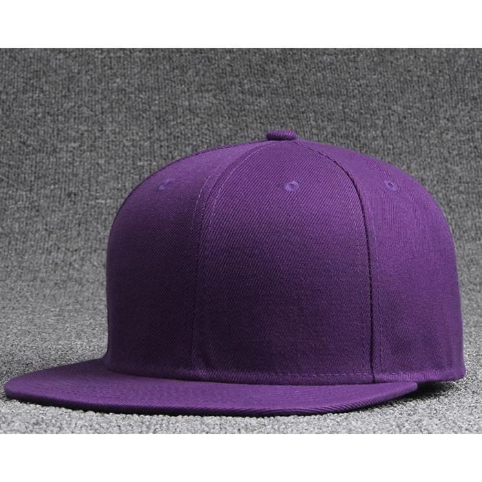Casquette à Bord Plat de Couleur unie pour Hommes et Femmes Casquette de Vaseball à Bord léger Casquette Hip-hop Violet