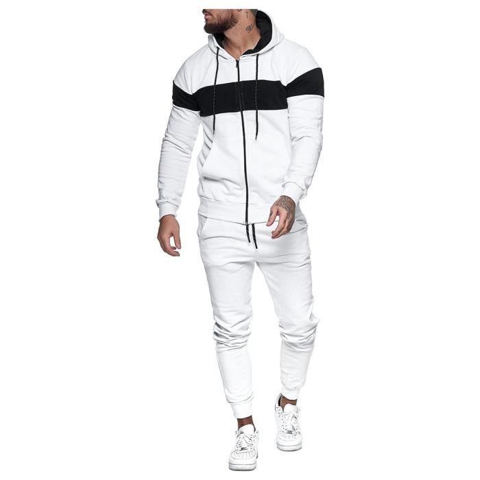 Hommes Automne Épissage Zipper Imprimer Sweat Top Pantalon Ensembles Survêtement Sport Suit ZHS200907001WHL_yan